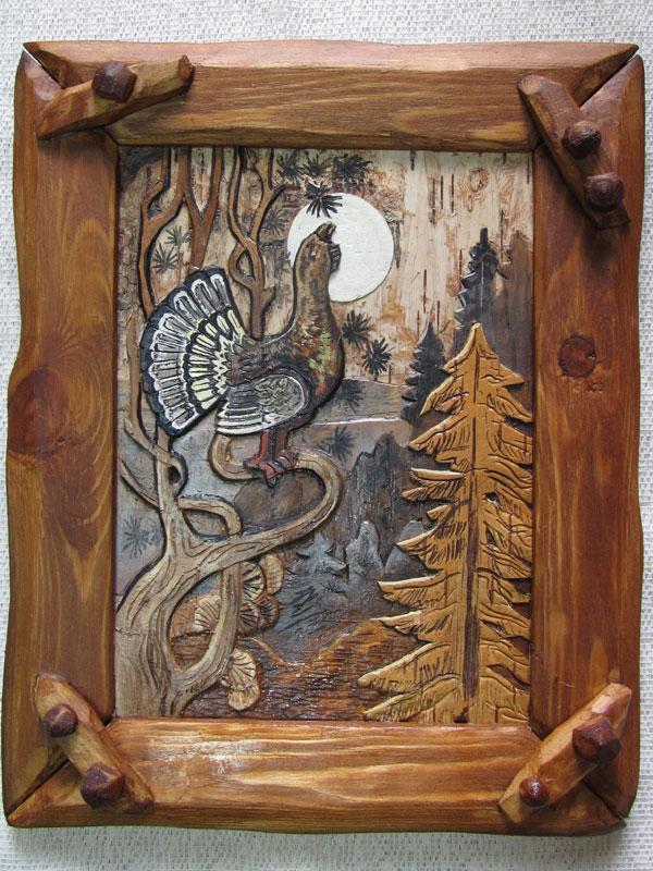 картинка глухаря для резьбы по дереву